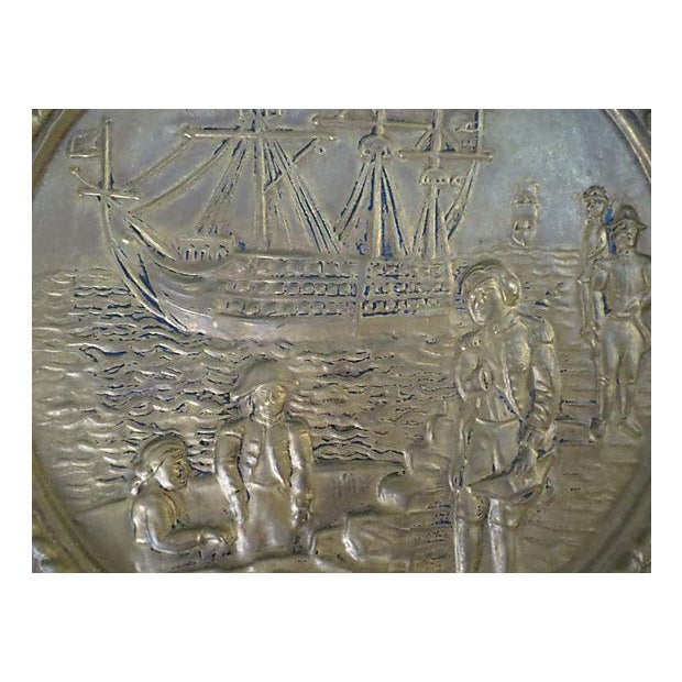 Vintage English Hammered Brass Ship Wall Plaque For Sale - Image 4 of 6