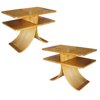 "Paul Frankl for Brown Saltman Two-Tier ""Bell"" Side Tables - A Pair For Sale"