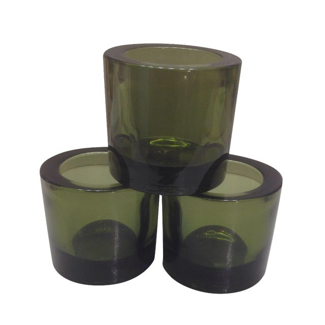 Iittala Marimekko Green Moss Kivi Votives - S/3 For Sale
