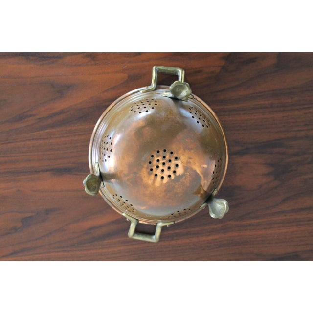 Metal VintageCopper Colander For Sale - Image 7 of 8