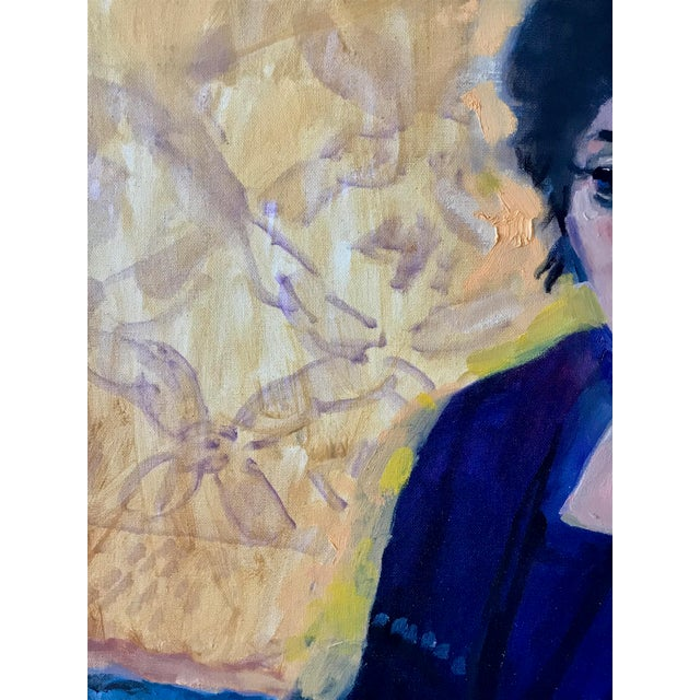 1970s Vintage Woman Seated in Chair Portrait Painting For Sale - Image 4 of 7