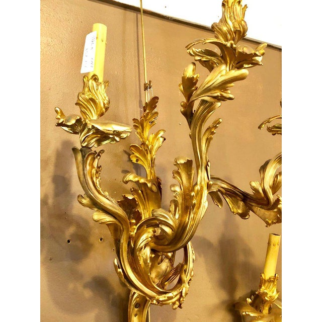 Giltwood Louis XVI Style Bronze Three Light Gilt Bronze Sconces - a Pair For Sale - Image 7 of 11