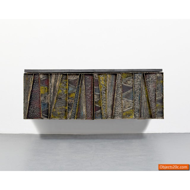Paul Evans for Directional Deep Relief Wall Cabinet For Sale - Image 11 of 12
