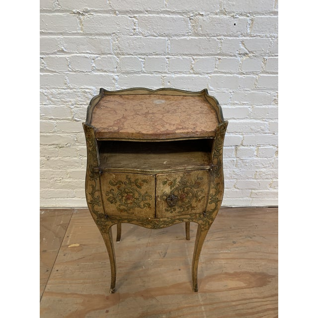 French Early 20th-Century French Inspired Hand Painted Side Cabinet + Marble Top For Sale - Image 3 of 12