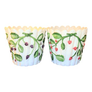 Vintage Tiffany and Co. Majolica Berry Cachepots - a Pair For Sale