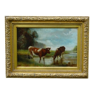 Antique Continental School Cattle Oil Painting For Sale