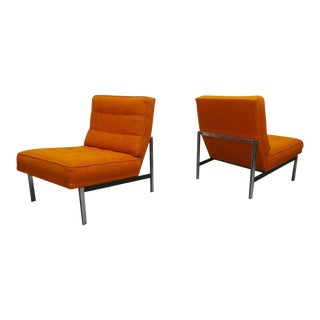"Mid Century Modern Florence Knoll ""Parallel"" Orange Tweed Slipper Chairs- A Pair For Sale"