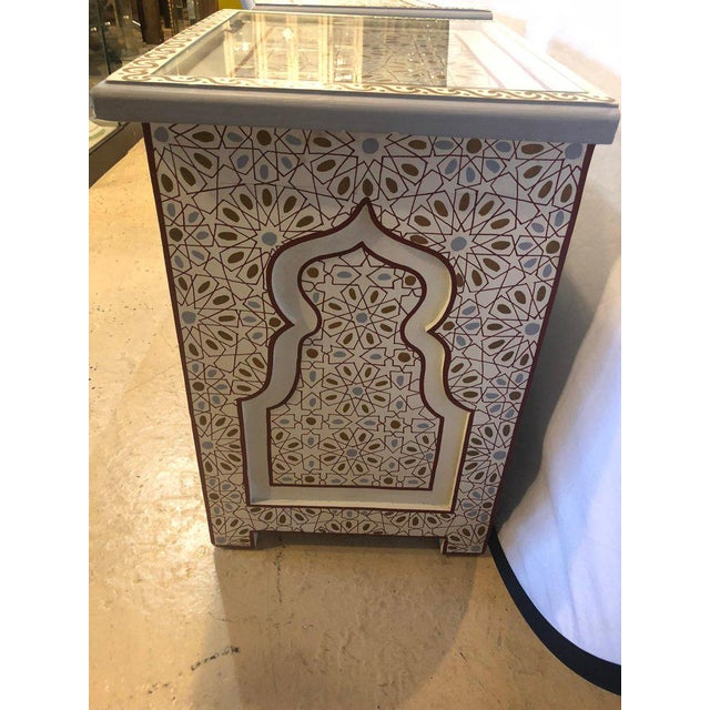Moorish Style White Blue-Gray and Burgundy Night Stands - a Pair For Sale - Image 9 of 12
