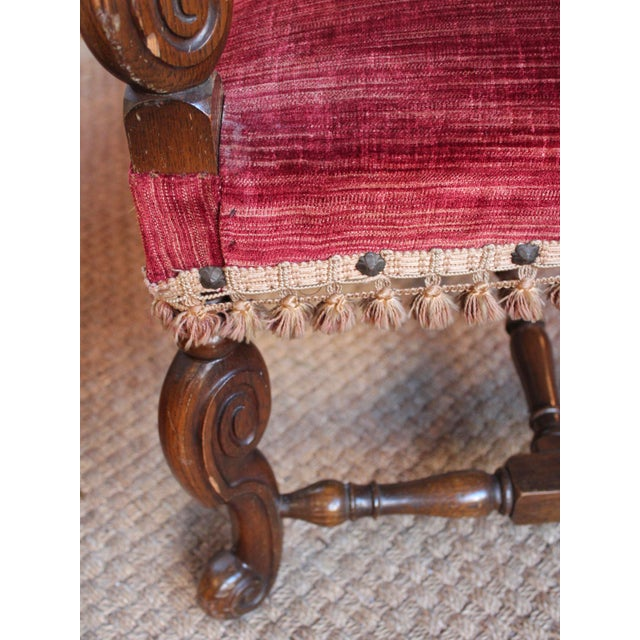 Red Louis XIV Style Carved Oak Arm Chairs - A Pair For Sale - Image 8 of 9