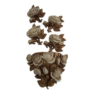 Homeco Hollywood Regency Roses Wall Pocket With Four Matching Plaques - 5 Pieces For Sale