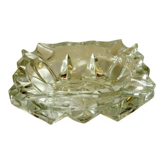1980s Solid Lead Crystal Glass Ashtray For Sale