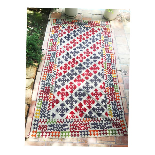 Textile 1950s Boho Chic Embroidered Kilim With Pop Colors For Sale - Image 7 of 8