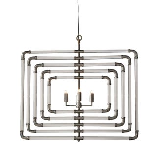 5 Layer Nickel Spiral Acrylic Stream Chandelier For Sale