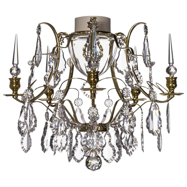 Bathroom Chandelier - Baroque Brass 5 Arm Obelisque Chandelier For Sale