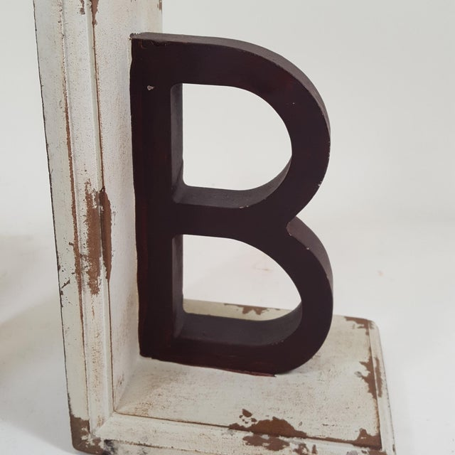 "2010s Wooden Bookends With Letters ""A"" and ""B"" - a Pair For Sale - Image 5 of 6"