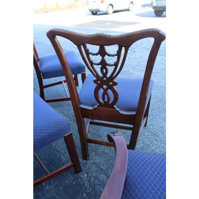 Vintage Mid Century Blue Dining Chairs- Set of 6 For Sale - Image 4 of 11