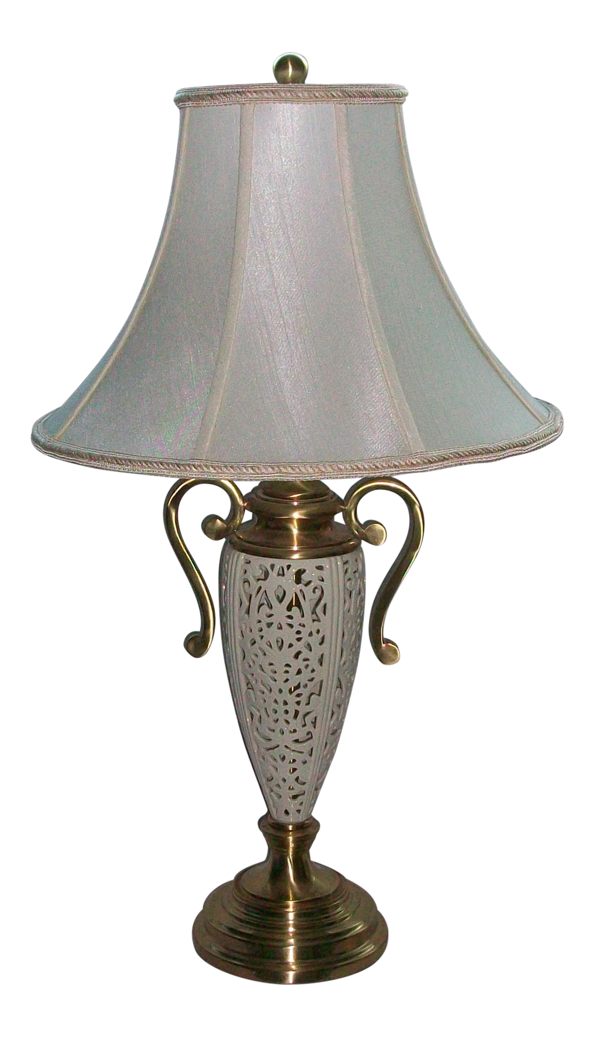 Lenox By Quoizel Reticulated Pierced Porcelain Brushed Brass Table Lamp  Original Shade