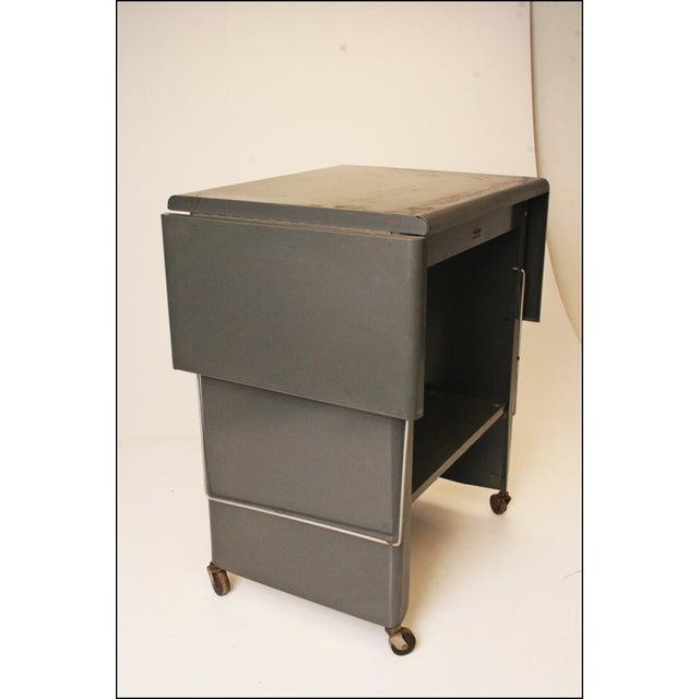 Vintage Cole Steel Industrial Gray Rolling Typewriter Table - Image 6 of 11