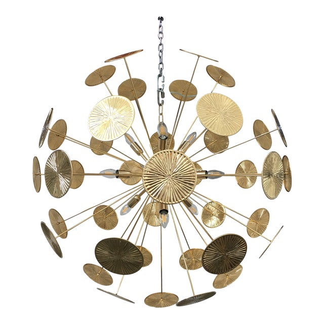 Early 21st Century Gold Metal Frame Sputnik Chandelier For Sale