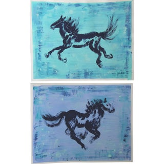 Pair of Horse Paintings by Cleo Plowden For Sale