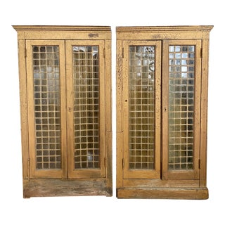 Mid 19th Century 1800's Antique Leaded Glass Gothic Wall Cabinets - a Pair For Sale