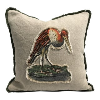 Safari Stork Linen & Cotton Appplique Quilted Zoo Animal Design Legacy Kelly O'Neal Pillow Baby's Room For Sale