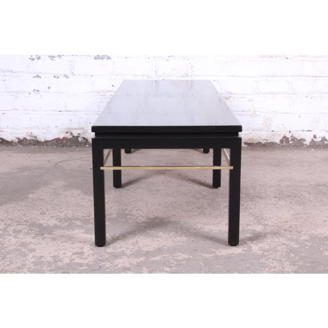 Metal Edward Wormley for Dunbar Ebonized Walnut and Brass Coffee Table, Newly Restored For Sale - Image 7 of 9