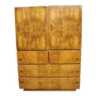 Mid Century Modern Lane Art Deco Burl Wood Baughman Style Armoire Chest Dresser For Sale