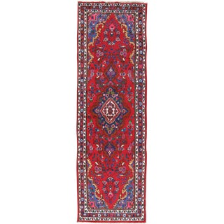 Vintage Persian Hamadan Hand Woven Runner Rug 4' X 12' For Sale