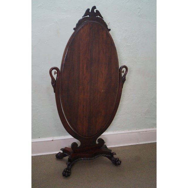 Antique Mahogany Swan & Eagle Carved Cheval Mirror - Image 4 of 10