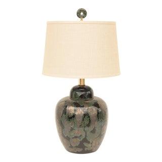 Black & Verdigris Ceramic Table Lamp For Sale