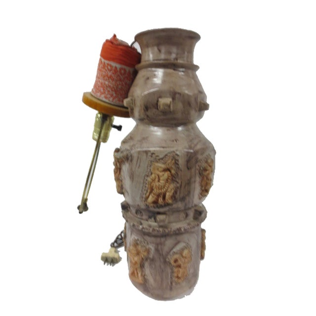 Pottery Lamp with Applied Oriental Figure - Image 7 of 8