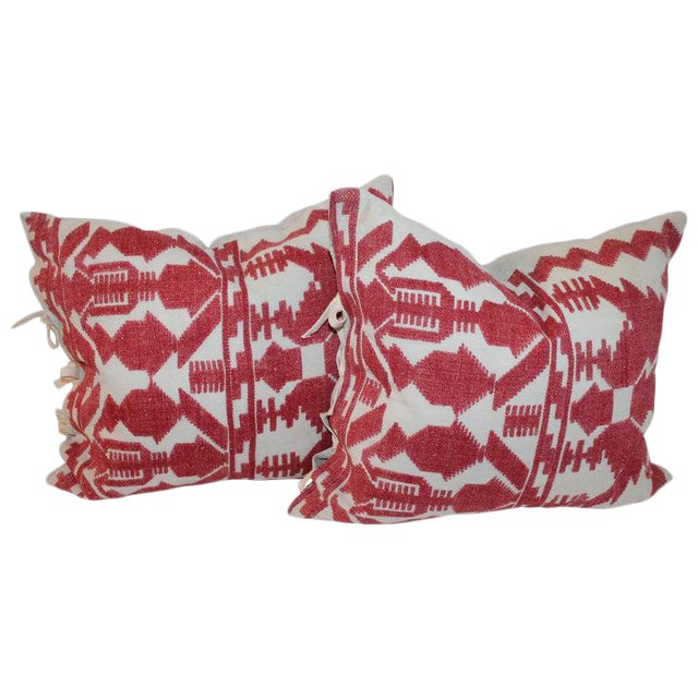 Pair of Embroidered Linen Tribal Pillows For Sale