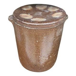 Rustic French Lidded Brown Pottery Crock For Sale
