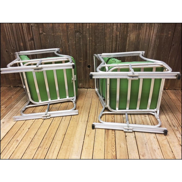 Mid Century Modern Bunting Aluminum Glider Patio Chairs - A Pair For Sale - Image 10 of 11