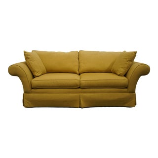 Ethan Allen Contemporary Golden Yellow Upholstered Loveseat For Sale