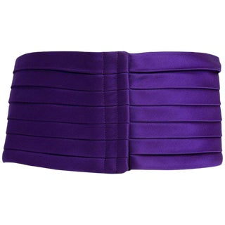 1970s Yves Saint Laurent Purple Pleated Silk Wide Cummerbund Belt For Sale