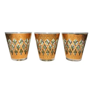 Vintage Culver Valencia Pattern Rocks Glasses - Set of 3