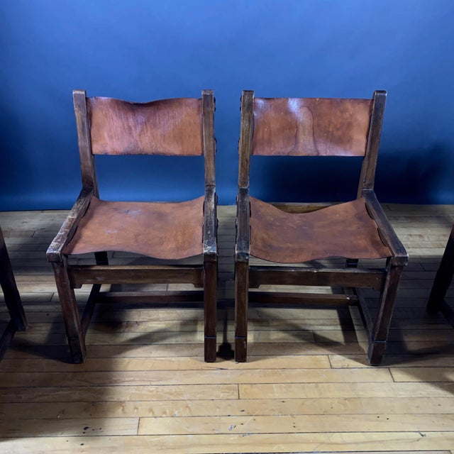 1940s Four French 1940s Saddle Leather & Oak Dining Chairs For Sale - Image 5 of 13