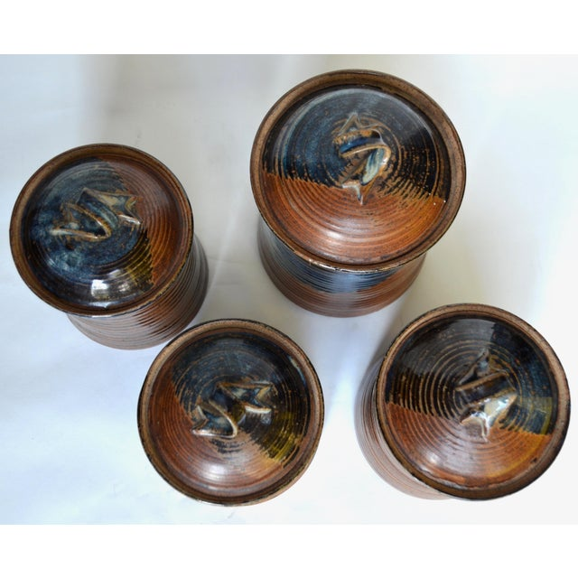 Vintage Mid Century Stoneware Pottery Canister- Set of 4 For Sale In Los Angeles - Image 6 of 8