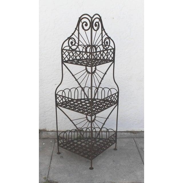 Black Early 20th Century Spanish Looking Iron Corner Three-Tier Shelf For Sale - Image 8 of 8