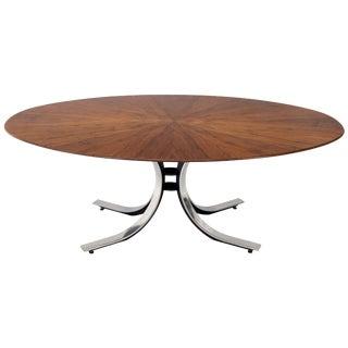 Osvaldo Borsani Large Oval Walnut Dining Conference Table on Heavy Chrome Base For Sale