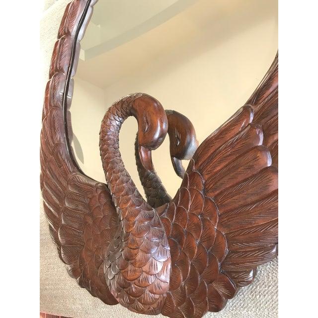 Art Nouveau Art Nouveau Carved Wooden Swan Mirror For Sale - Image 3 of 5