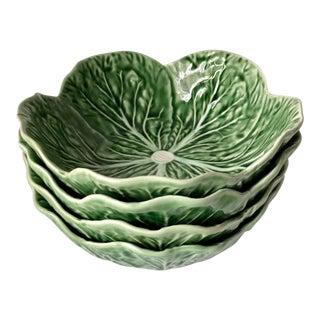 Bordallo Pinheiro Cabbage Leaf Majolica Bowls-Set 4 For Sale