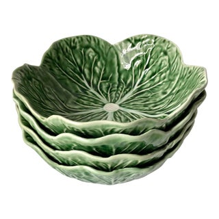Bordallo Pinheiro Cabbage Leaf Majolica Bowls - Set of 4 For Sale