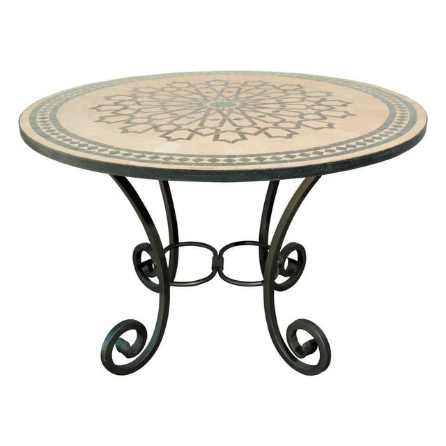 Moroccan Mosaic Outdoor Tile Table in Fez Moorish Design For Sale - Image 11 of 11