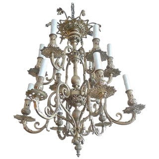 Italian 19th Century Bronze Chandelier With Two Tiers and Twelve Lights. For Sale