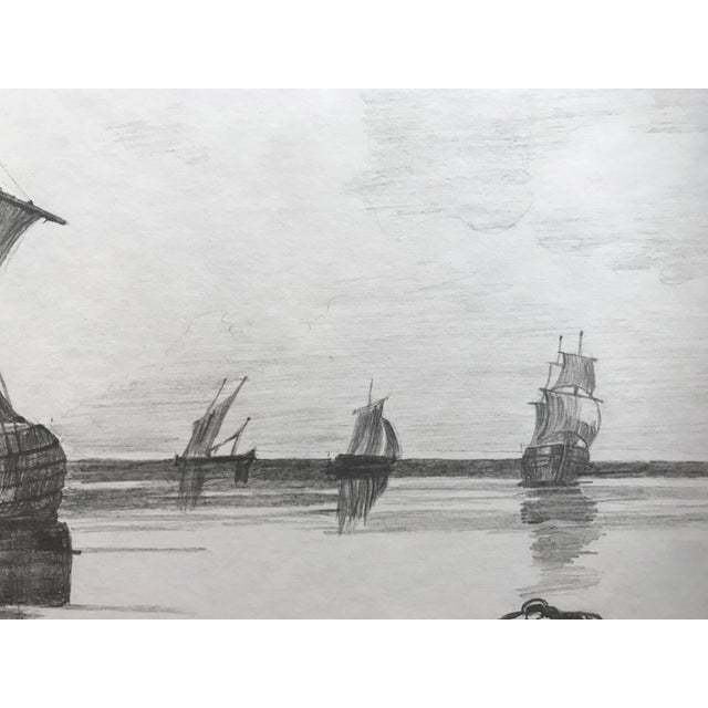 19th Century French Graphite Drawing of Ships For Sale - Image 4 of 4