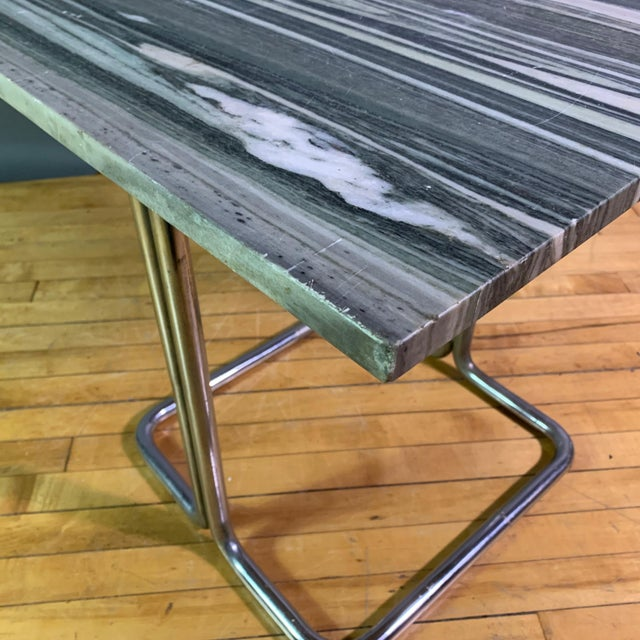 Wolfgang Hoffman (Attr) 1930s Tubular Chrome & Marble Table For Sale - Image 9 of 11