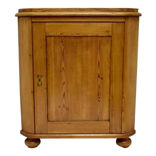 Swedish Pitch Pine One Door Corner Cupboard For Sale